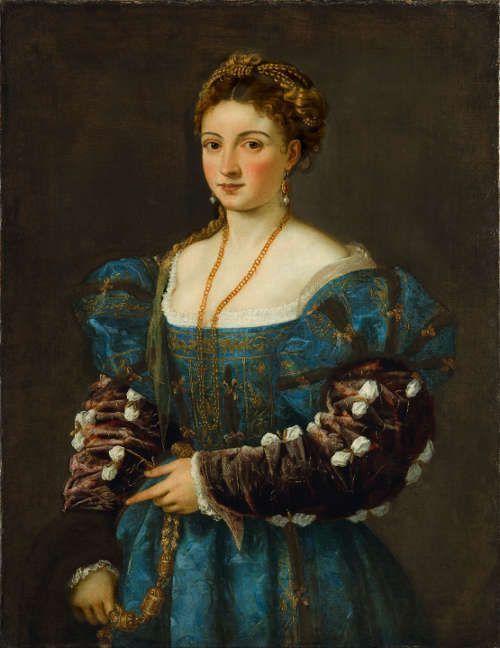 "Tizian, Bildnis einer Frau (""La Bella""), um 1536, Öl auf Leinwand, 89 x 75,5 cm (Gallerie degli Uffizi, Palazzo Pitti, Florenz)"