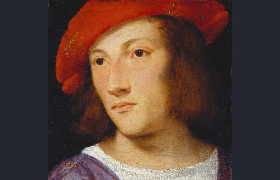 Tizian, Bildnis eines jungen Mannes, Detail, um 1510, Pappelholz, 20 x 17 cm (Städel Museum Frankfurt a.M. © Städel Museum – ARTOTHEK)