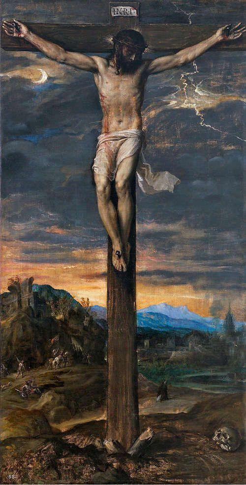 Tizian, Christus am Kreuz, um 1565, Öl auf Leinwand, 219 x 111 cm (Patrimonio Nacional, Monasterio de San Lorenzo del Escorial)