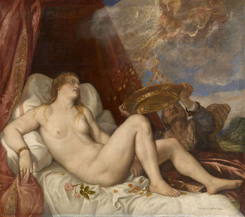 Tizian, Danae, nach 1554, Öl/Lw, 135 cm × 152 cm (Kunsthistorisches Museum Wien, Gemäldegalerie)