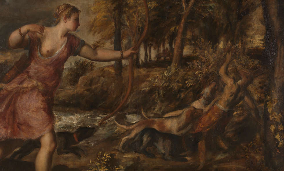 Tizian, Der Tod des Actaeon, Detail, um 1559–1575, Öl auf Leinwand, 178.8 x 197.8 cm (© The National Gallery, London)