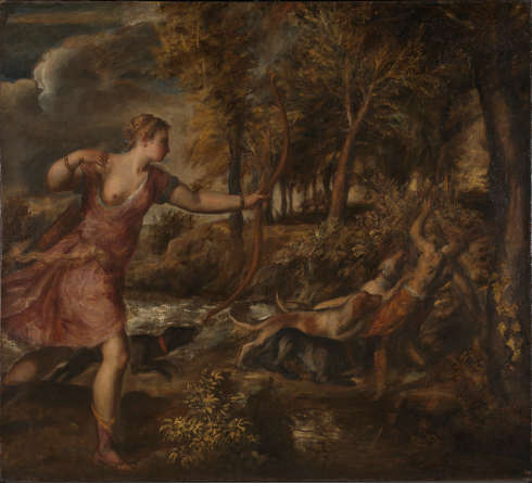 Tizian, Der Tod des Actaeon, um 1559–1575, Öl auf Leinwand, 178.8 x 197.8 cm (© The National Gallery, London)