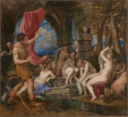 Tizian, Diana und Actaeon, 1556–1559, Öl auf Leinwand, 184,5 x 202,2 cm (© The National Gallery London, The National Galleries of Scotland)