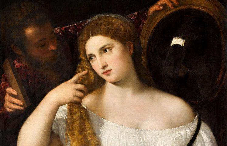 Tizian, Junge Frau bei der Toilette, Detail, um 1515, Öl/Leinwand, 99 × 76 cm (Musée du Louvre, Département des Peintures, Paris © RMN-Grand Palais (musée du Louvre) / Franck Raux)