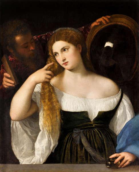 Tizian, Junge Frau bei der Toilette, um 1515, Öl/Leinwand, 99 × 76 cm (Musée du Louvre, Département des Peintures, Paris © RMN-Grand Palais (musée du Louvre) / Franck Raux)