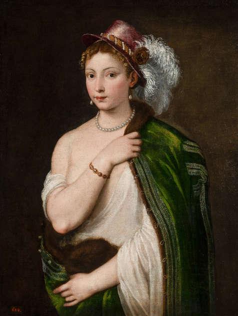Tizian, Junge Frau mit Federhut, 1534–1536, Öl/Leinwand, 96 × 75 cm (Eremitage, St. Petersburg © The State Hermitage Museum, 2021, Foto: Dmitri Sirotkin)