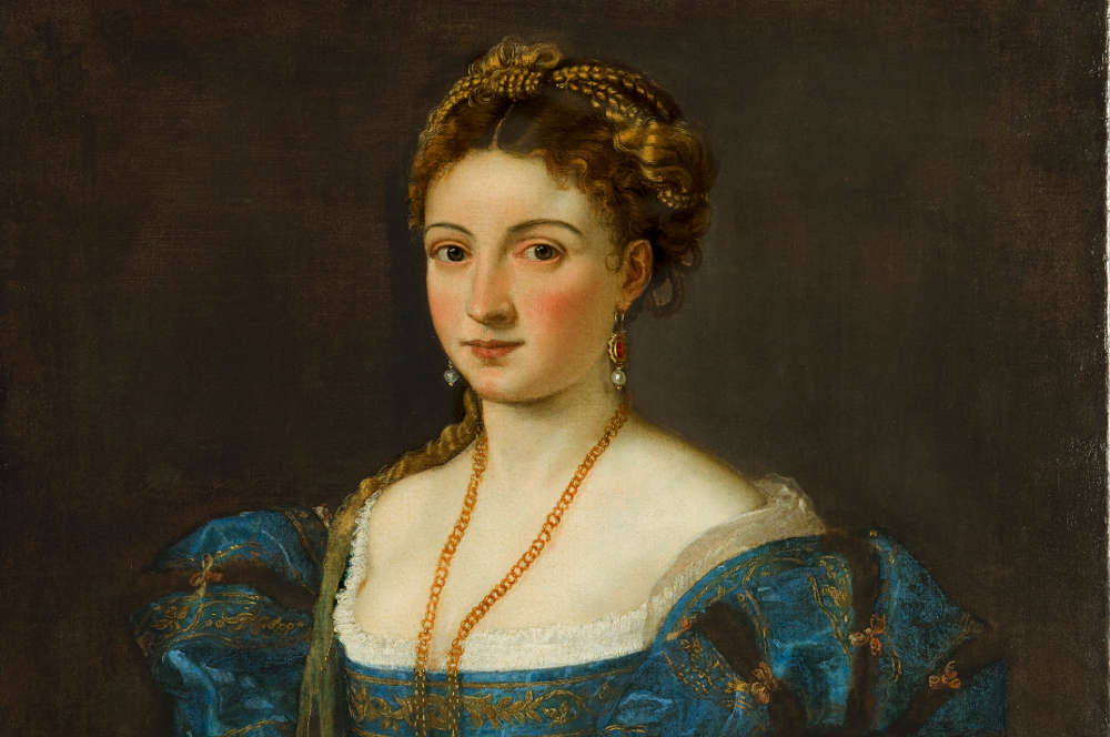 "Tizian, Bildnis einer Frau (""La Bella""), Detail, um 1536, Öl auf Leinwand, 89 x 75,5 cm (Gallerie degli Uffizi, Palazzo Pitti, Florenz)"