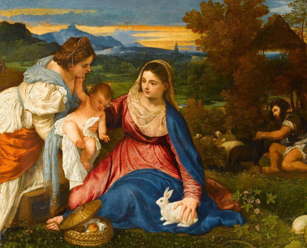 Tizian, Madonna mit Kind, der heiligen Katharina sowie einem Hirten (Die Madonna mit dem Kaninchen), um 1530, Öl auf Leinwand, 71 x 87 cm (Paris, Musée du Louvre, Département des Peintures ©bpk / RMN - Grand Palais / Michèle Bellot)