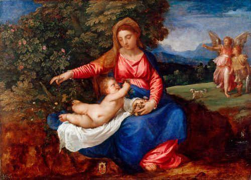 Tizian, Madonna und Kind in einer Landschaft mit Tobias und dem Engel, um 1535–1540 (Royal Collection Trust/© Her Majesty Queen Elizabeth II 2017)