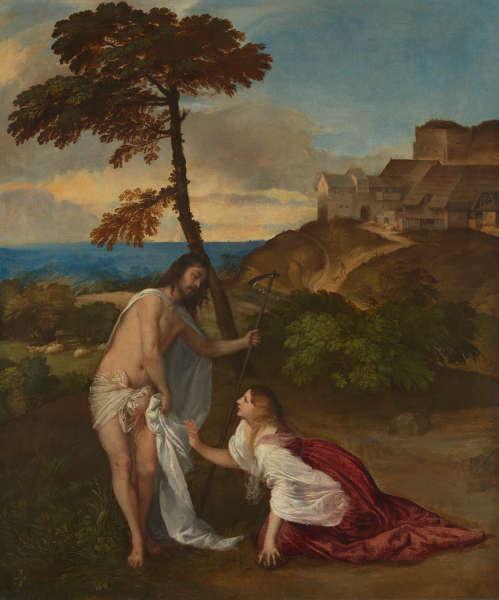 Tizian, Noli me tangere (Christus erscheint Maria Magdalena), um 1514, Öl/Lw, 110,5 x 91,9 cm (The National Gallery, London © The National Gallery, London. Vermacht von Samuel Rogers, 1856)