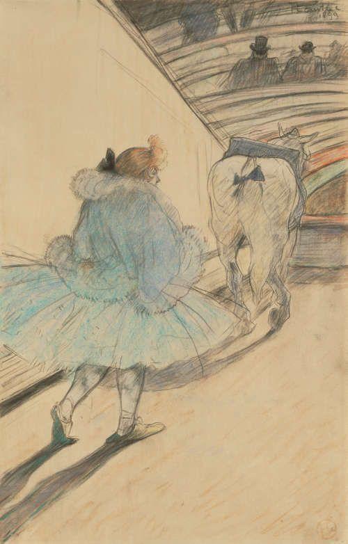 Henri de Toulouse-Lautrec, Im Zirkus: Gang in die Manege, 1899, Bleistift und Farbe auf Papier, 31 x 20 cm (The J. Paul Getty Museum, Los Angeles)