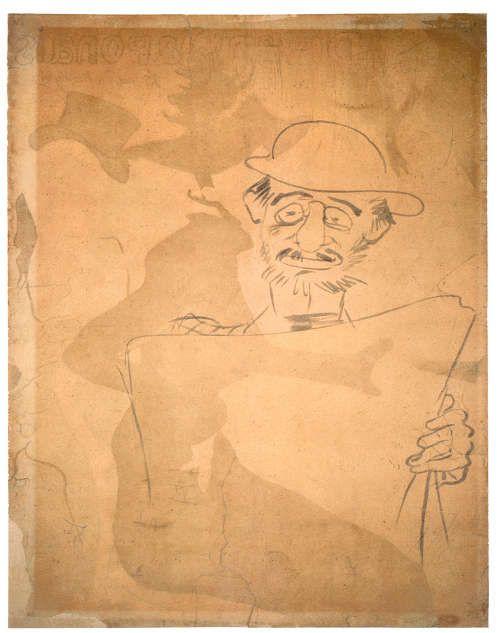 "Henri de Toulouse-Lautrec, Selbstkarikatur (Selbstporträt) auf der Rückseite des Plakats von ""Divan Japonais"", 1893, Plakat, 80 x 61,5 cm (Fundación Pierre Ginadda, Martigny)"
