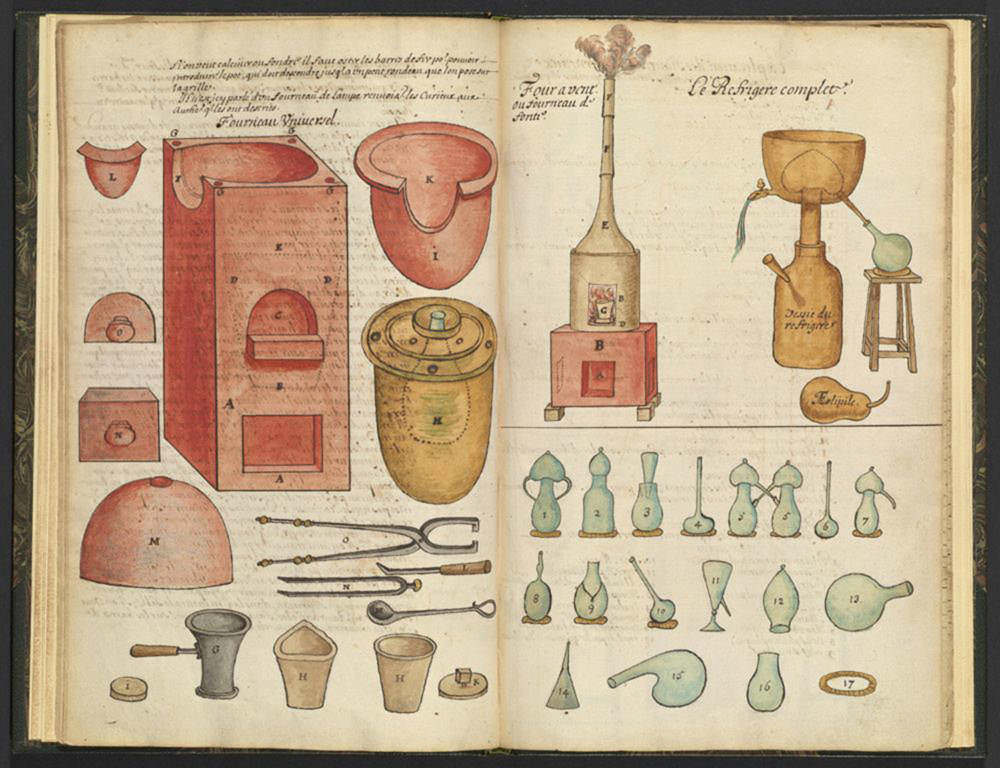 Traité de Chymie, Frankreich, um 1700, S. 10/11, Aquarell und Tinte auf Papier (Los Angeles, The Getty Research Institute, © The Getty Research Institute, Los Angeles)
