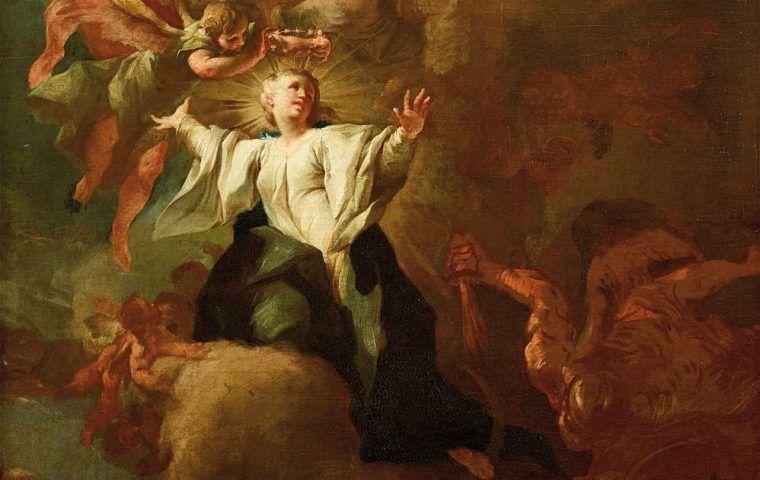 Paul Troger, Allegorie auf die Unbefleckte Empfängnis Mariens, Maria, nach 1733, Öl/Lw, 109 x 85 cm (Belvedere, Inv.-Nr. 3154)