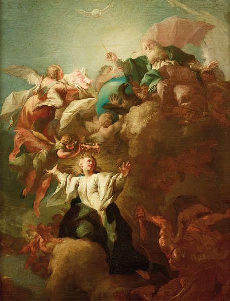 Paul Troger, Allegorie auf die Unbefleckte Empfängnis Mariens, nach 1733, Öl/Lw, 109 x 85 cm (Belvedere, Inv.-Nr. 3154)