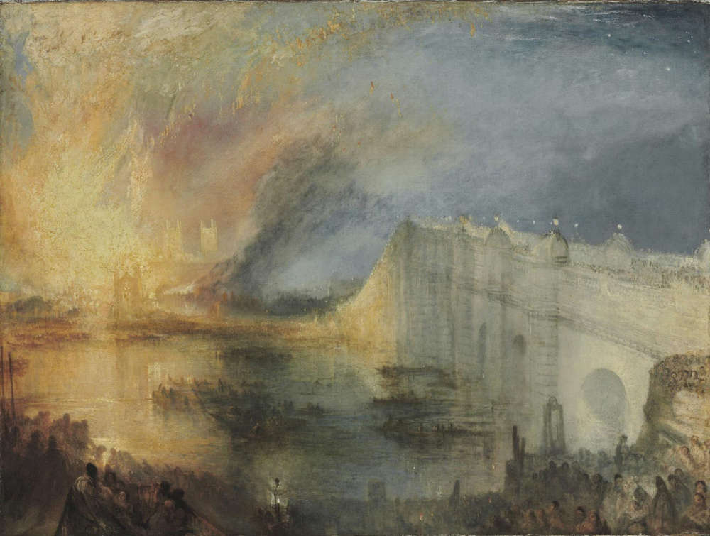 Joseph Mallord William Turner, The Burning of the Houses of Lords and Commons, October 16, 1834, Öl/Lw, 92.1 x 123.2 cm (Philadelphia Museum of Art, The John Howard McFadden Collection, 1928)