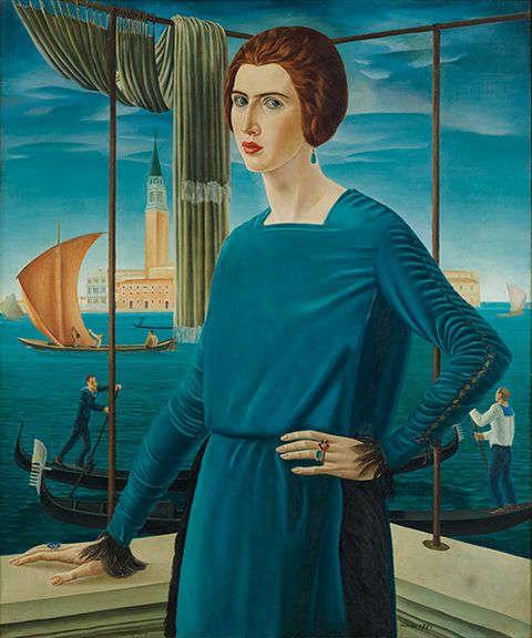 Ubaldo Oppi, Die Frau des Künstlers vor venezianischer Kulisse, 1921, Öl/Lw (Privatsammlung, Rom, Foto: Carlo Baroni, Rovereto)