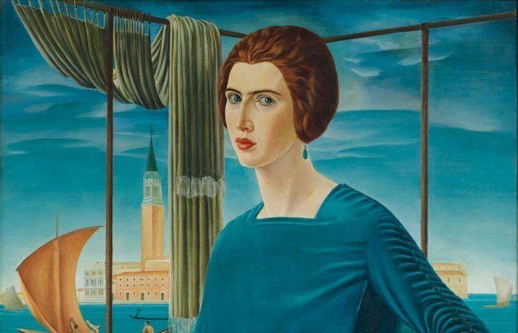 Ubaldo Oppi, Die Frau des Künstlers vor venezianischer Kulisse, Detail, 1921, Öl/Lw (Privatsammlung, Rom, Foto: Carlo Baroni, Rovereto)