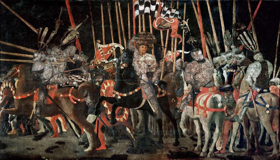 Paolo Uccello, Gegenattacke von Michelotto da Cotignola in der Schlacht von San Romano, um1455, Eitempera auf Holz, 182 × 317 cm (Musée du Louvre, Paris)
