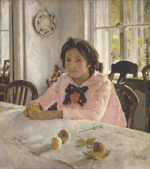 Valentin Serow, Mädchen mit Pfirsichen. Porträt von V.S. Mamontova. 1887, Öl/Lw, 91 х 85 cm (Tretjakow-Galerie, Moskau)