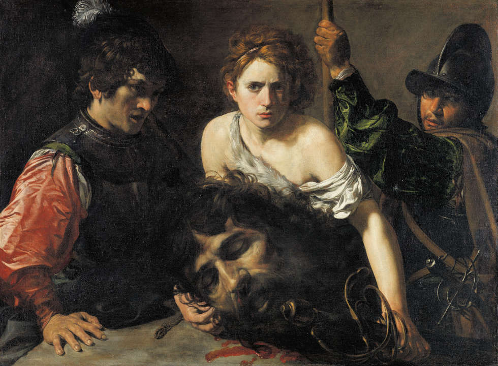 Valentin de Boulogne, David mit dem Haupt Goliaths und zwei Soldaten, um 1620/1622, Öl/Lw, 99 x 134 cm (Museo Nacional Thyssen-Bornemisza, Madrid © Museo Nacional Thyssen-Bornemisza, Madrid)