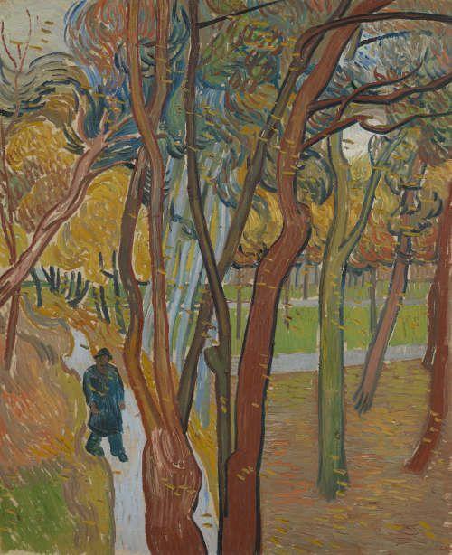 "Vincent van Gogh, Der Garten vom Saint-Paul Hospital (""Fallende Blätter""), Saint-Rémy-de-Provence, Oktober 1889, Öl auf Leinwand, 73.8 cm (Van Gogh Museum, Amsterdam / Vincent van Gogh Foundation)"