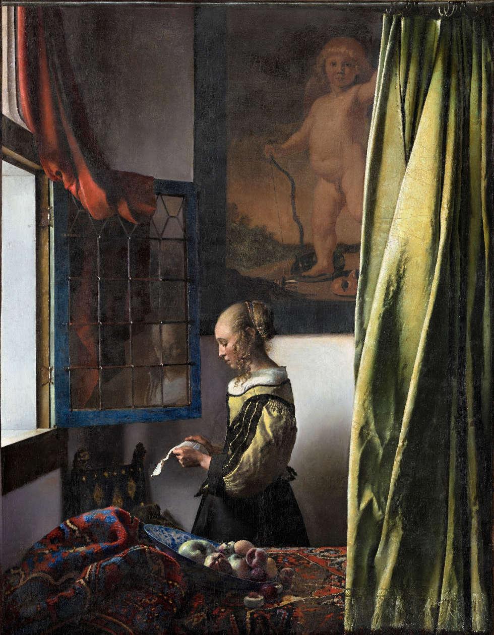Jan Vermeer, Die Briefleserin (am offenen Fenster), um 1657/59, Öl/Lw, 83 x 64,5 cm (Dresden, Gemäldegalerie Alte Meister – Staatliche Kunstsammlungen)