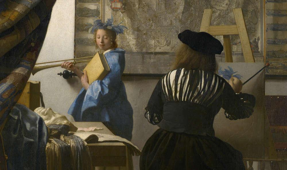 Johannes Vermeer van Delft (1632–1675, tätig in Delft), Die Malkunst, Detail, um 1665-66, Leinwand (© Wien, Kunsthistorisches Museum)