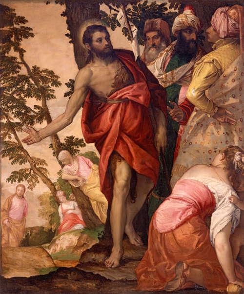 Veronese, Predigt des hl. Johannes Baptista, um 1562, Öl auf Leinwand, 208 x 140 cm (Rom, Galleria Boghese)