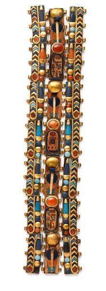 Vier horizontale und zwei vertikale goldene Mumienbänder mit Einlagen aus Karneol, Lapis und Glas