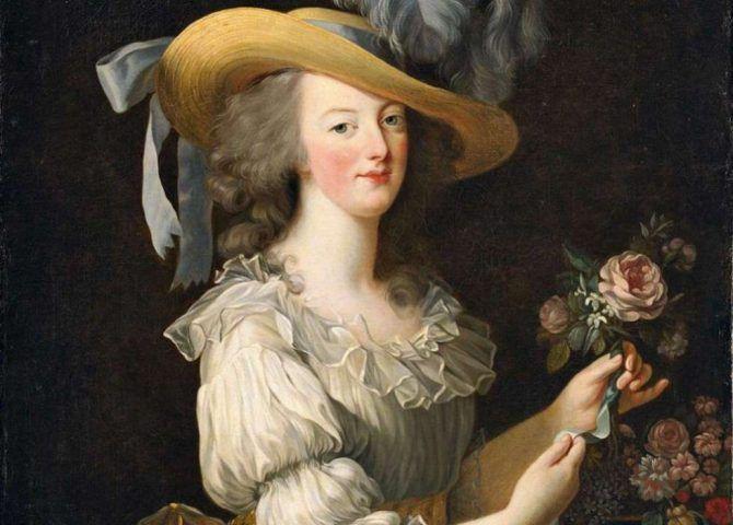 Elisabeth Louise Vigée Le Brun, Marie Antoinette in einem Chemisen Kleid, Detail, 1783, Öl auf Leinwand, 89.8 × 72 cm (Hessische Hausstiftung, Kronberg)