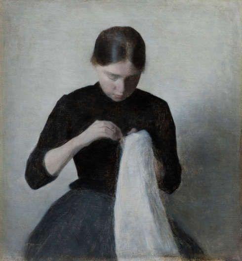 Vilhelm Hammershøi, Ein junges nähendes Mädchen, 1887, Öl auf Leinwand, 37 x 35 cm (Ordrupgaard, Kopenhagen © Foto: Anders Sune Berg)