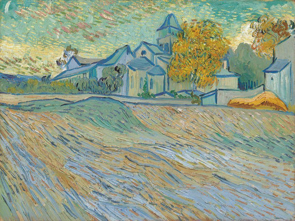 Vincent Van Gogh, Vue de l'asile et de la Chapelle Saint-Paul de Mausole (Saint-Rémy), 1889, Öl/ Lw, 45.2 x 60.3 cm (Privatsammlung)