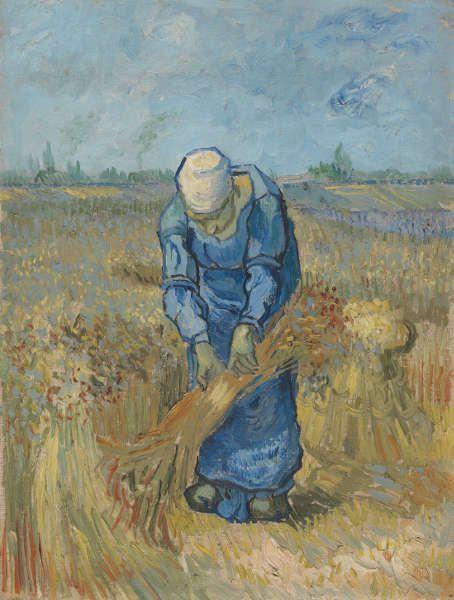 Vincent van Gogh, Bäuerin bindet Getreidegarben (nach Millet), Saint-Rémy-de-Provence, September 1889, Öl/Lw/Karton, 43.2 cm x 33.2 cm (Van Gogh Museum, Amsterdam (Vincent van Gogh Foundation)