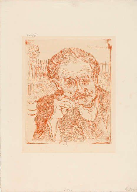 Vincent van Gogh, Bildnis des Dr. Gachet, 1890, Radierung in Schwarz, 18,3 x 15,1 cm (©Städel Museum, Frankfurt am Main, Foto: Städel Museum, Frankfurt am Main)