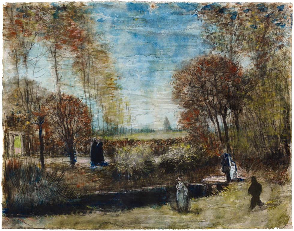 Vincent van Gogh, Der Garten des Pfarrhauses in Nuenen, 1885, Aquarell/Papier, 38 x 49 cm (Het Noordbrabants Museum, 's-Hertogenbosch Verworven met steun van de BankGiro Loterij, het Mondriaan Fonds, het VSBfonds, de Vrienden van Het Noordbrabants Museum, de Renschdael Art Foundation en Coen Teulings)