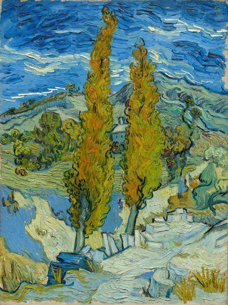 Vincent van Gogh, Die Pappeln in Saint-Rémy, 1889, Öl auf Leinwand, 61,6 x 45,7 cm (The Cleveland Museum of Art, Vermächtnis von Leonard C. Hanna, Jr.)