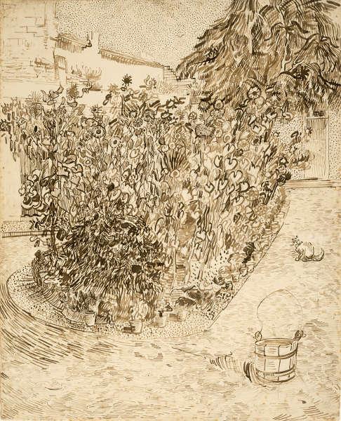 Vincent van Gogh, Garten eines Badehauses, Arles, August 1888, Bleistift, rote Feder und Pinsel und Tinte/Papier, 60.7 x 49.2 cm (Van Gogh Museum, Amsterdam (Vincent van Gogh Foundation)