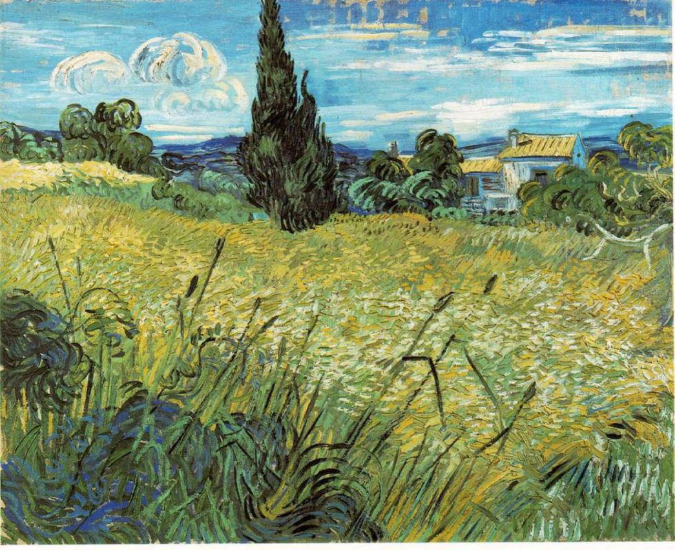 Vincent van Gogh, Grünes Weizenfeld mit Zypresse, Mitte Juni 1889, Öl/Lw, 73,5 x 92,5 cm (Národní Galerie, Prag)