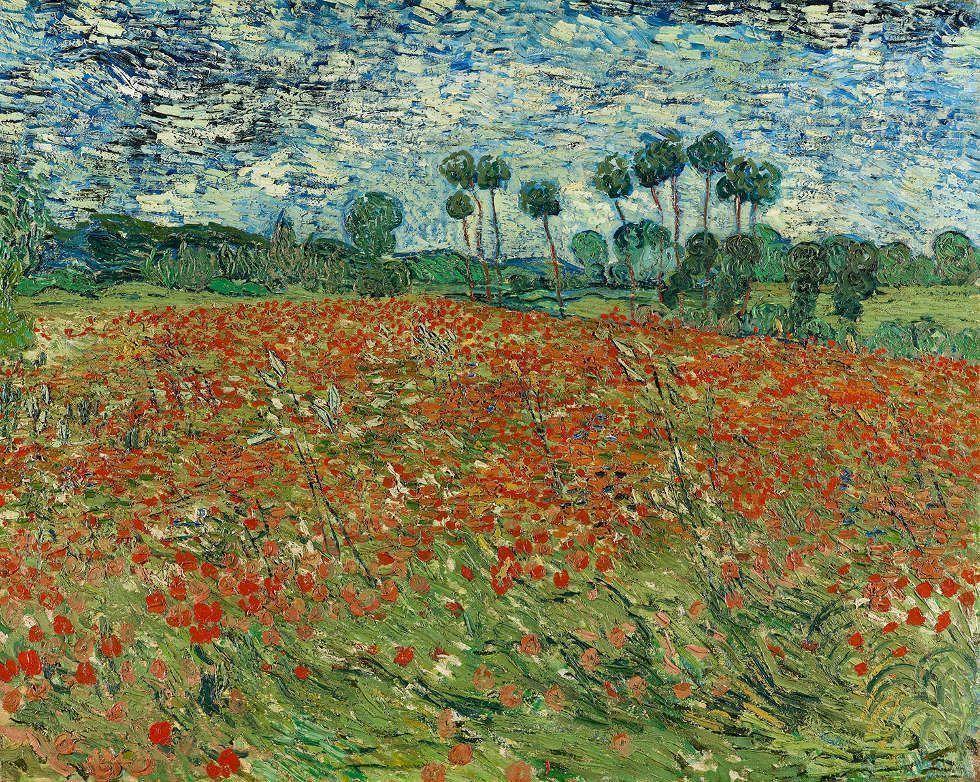 Vincent van Gogh, Mohnblumenfeld, 1890, Öl auf Leinwand (Gemeentemuseum Den Haag, Longterm Loan Cultural Heritage Agency of the Netherlands, 0332858)