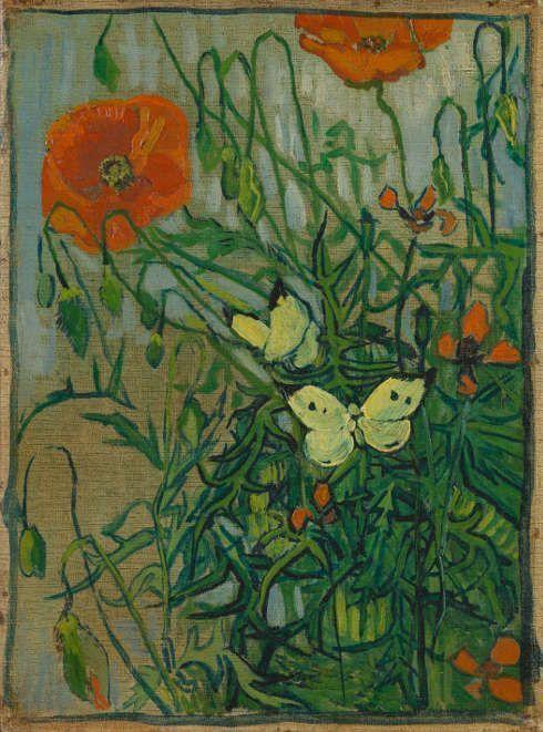 Vincent van Gogh, Schmetterlinge und Mohnblumen, 1889, Öl/Lw, 35 x 25,5 cm (Van Gogh Museum, Amsterdam (Vincent van Gogh Foundation)
