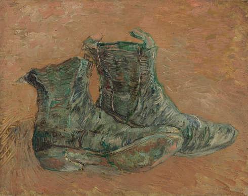 Vincent van Gogh, Schuhe, Paris, Januar–Februar 1887, Öl/Karton, 32.7 cm x 40.8 cm (Van Gogh Museum, Amsterdam (Vincent van Gogh Foundation)
