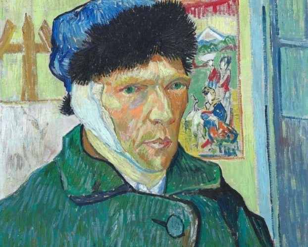 Vincent van Gogh, Selbstporträt mit verbundenem Ohr, Detail, 1889, Öl/Lw, 60.5 x 50 cm (The Courtauld Gallery (The Samuel Courtauld Trust, London)