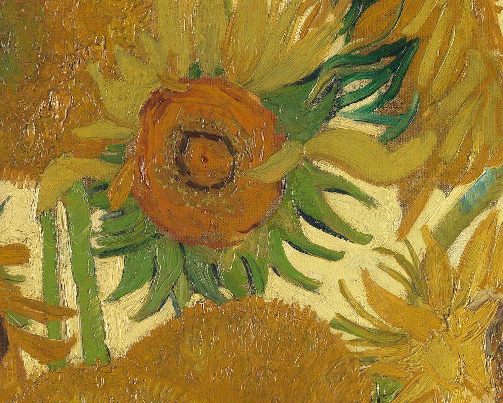 Vincent van Gogh, Sonnenblumen, Detail, Ende August 1888, Öl/Lw, 93 x 73 cm (National Gallery, London)