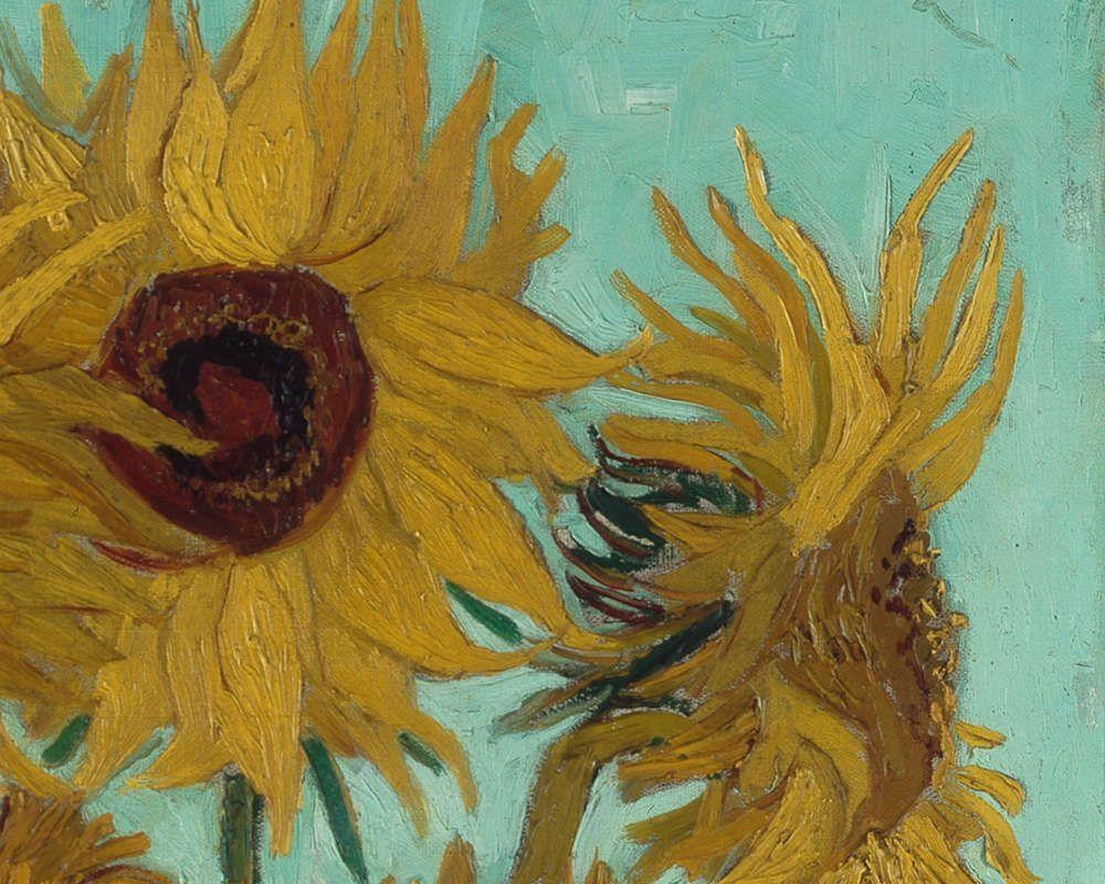 Vincent van Gogh, Sonnenblumen, Detail, 1888, Öl/Lw, 92 x 73 cm (Neue Pinakothek, München, 1912 als anonyme Schenkung im Rahmen der Tschudi-Spende erworben, Inv. Nr. 8672)