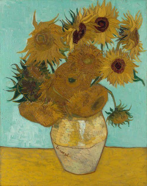Vincent van Gogh, Sonnenblumen, 1888, Öl/Lw, 92 x 73 cm (Neue Pinakothek, München, 1912 als anonyme Schenkung im Rahmen der Tschudi-Spende erworben, Inv. Nr. 8672)