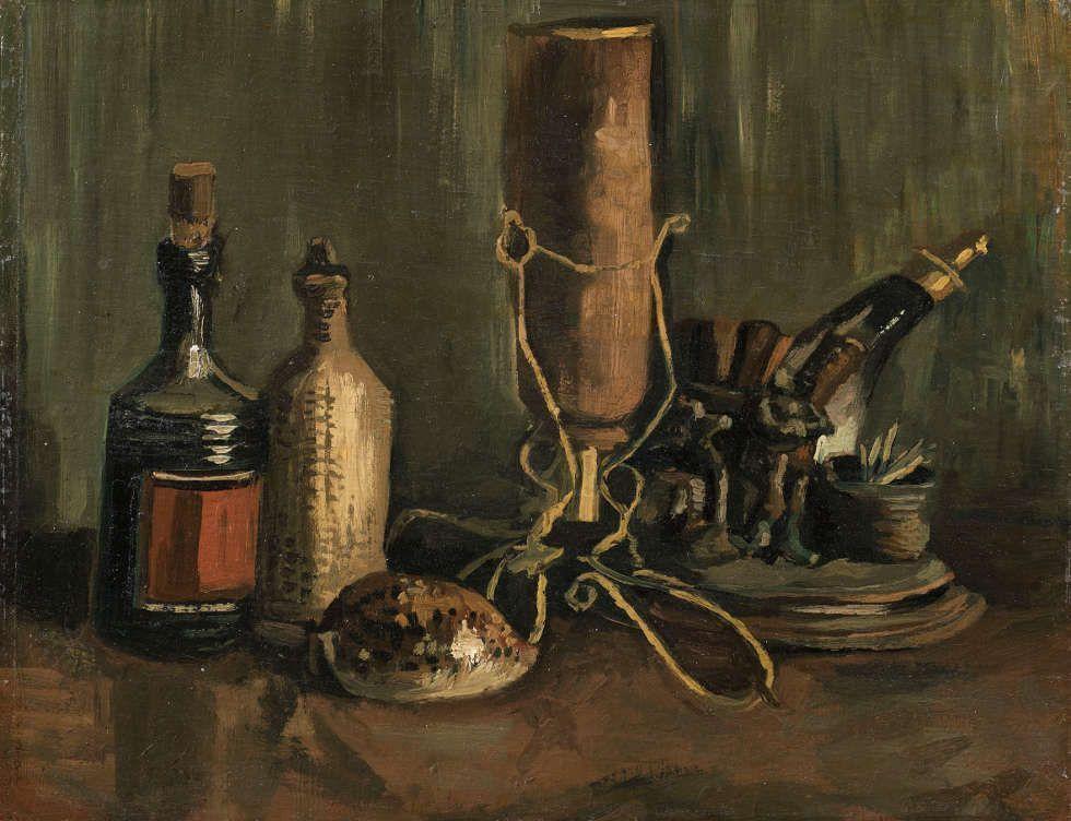 Vincent van Gogh, Stillleben mit Flaschen und Schale, Herbst 1884, Öl/Lw, 31,8 x 41,3 cm (Foto: Marjo van de Peppel-Kool Het Noordbrabants Museum, 's-Hertogenbosch)