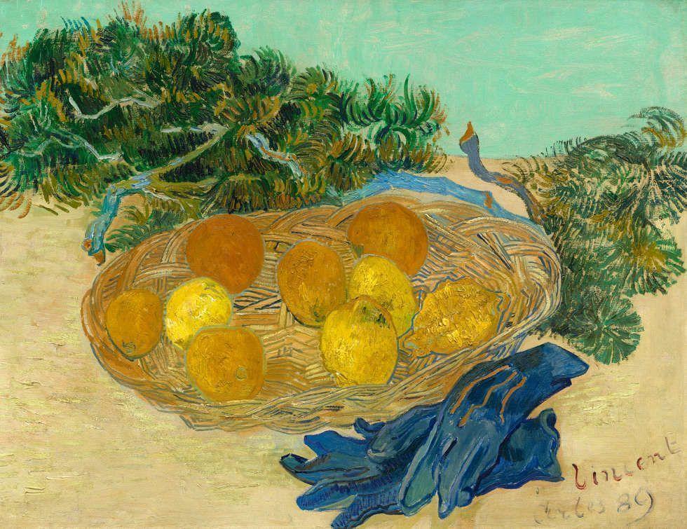 Vincent van Gogh, Stillleben mit Orangen und Zitronen mit blauen Handschuhen, 1889, Öl/Lw, 48 × 62 cm (National Gallery of Art, Washington D.C., Collection of Mr. and Mrs. Paul Mellon, Inv.-Nr. 2014.18.13)