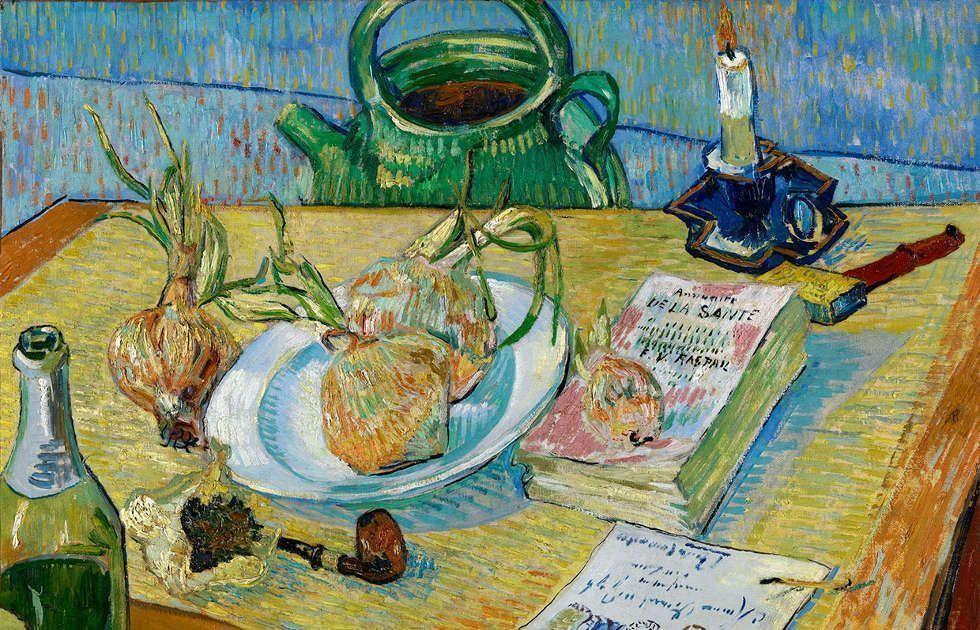 Vincent van Gogh, Stillleben mit Zwiebel, Detail, 1889, Öl/Lw (Kröller-Müller Museum, Otterlo)