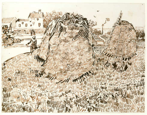 Vincent van Gogh, Strohhaufen, 1888, Bleistift braune Tusche, Rohrfeder, 24,1 x 31,9 cm (© Szépművészeti Múzeum - Museum of Fine Arts Budapest, 2019)